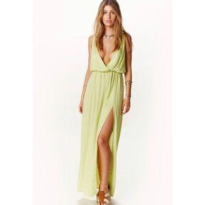 Blue Life High Tide Green Maxi Slit plunging Dress